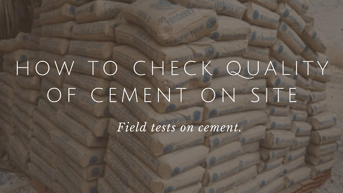 Field tests on cement